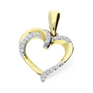 Serduszko złote z diamentami nr KU 12285 Au 585 Sezam - 1