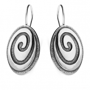 Kolczyki srebrne owale tłoczone nr SZ029 KK Sezam - 1