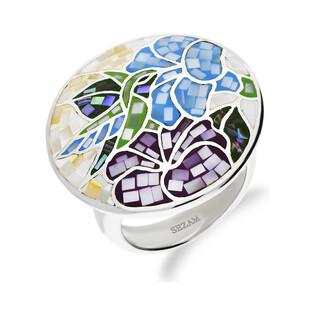 Pierścionek kółko koliber i kwiaty z masą perłową NJ26 3610416.1 próba 925