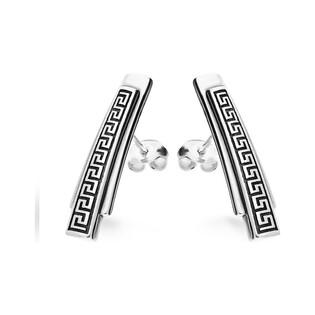 Kolczyki srebrne słupki wzór grecki nr SZ003 Sezam - 1