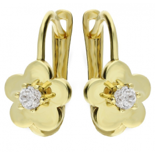 Kolczyki złote kwiatki z cyrkonią nr CI 6258 Au 333 Sezam - 1