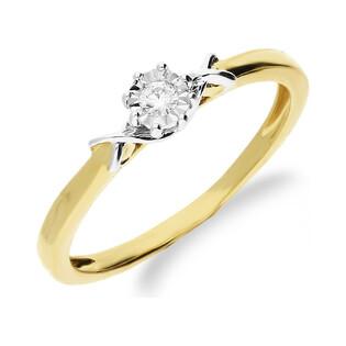 Pierścionek złoty z diamentem SOLITER KU 5541 próba 585 Sezam - 1