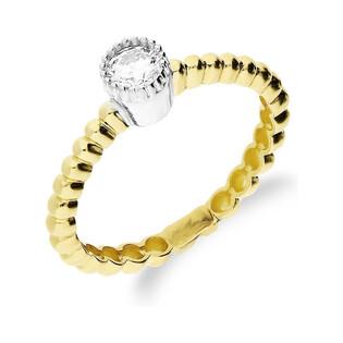 Pierścionek złoty z cyrkonia na szynie beads nr S3 A1-R1009 próba 585 Sezam - 1