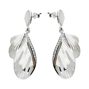 Kolczyki skrzydło motyla z białą masą perłową i cyrkoniami NJ23 2610578.5 próba 925