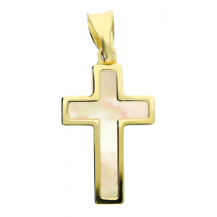 Krzyżyk złoty z masą perłową OS 129-LP11 próba 585