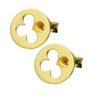 Kolczyki złote koniczyna w kółku nr OP OP595 Au 333 Sezam - 1