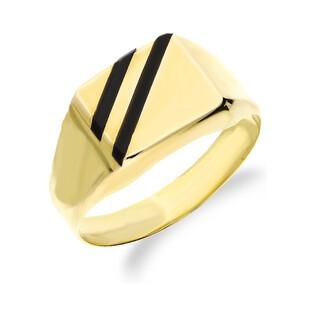 Sygnet złoty gładki z paskami czarnymi nr AR 0317-L-P Au 333 Sezam - 1
