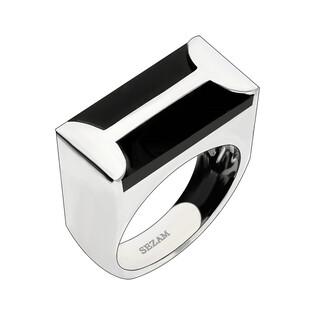Pierścionek srebrny prostokąt onyks NJ04 3620161 próba 925