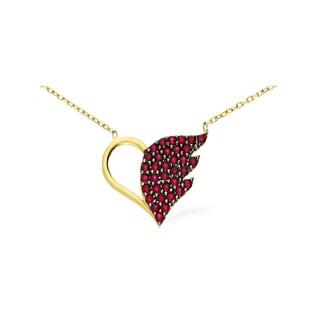 Naszyjnik złoty fancy serce z czerwonymi cyrkoniami nr S3 SHK-20 Au 333 Sezam - 1
