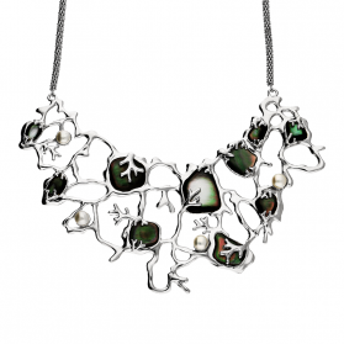 Naszyjnik siatka z zieloną masą perłową i perłami NJ 8028 próba 925