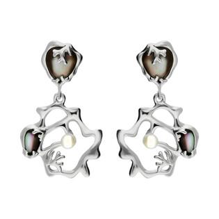 Kolczyki siatka z masą perłową i perłą NJ 8028-1 próba 925