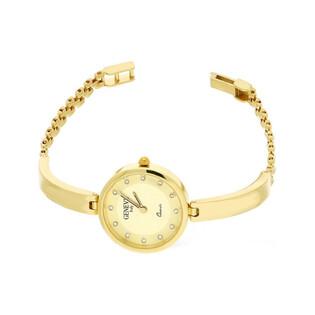 Zegarek złoty półsztywny z okrągłą tarczą nr MI GENEVE SM010 Au 585 Sezam - 1