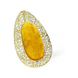 Zawieszka srebrna ornament pozłacany z bursztynem nr AC 003 Sezam - 1