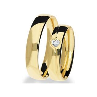 Obrączki ślubne z diamentem w kształcie serca na ST 295 Sezam - 1