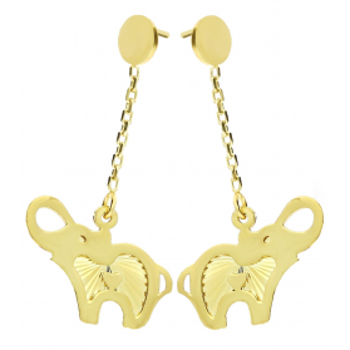 Kolczyki złote słonie wiszące na łańcuszku MZ T23-EP-0218-33-LZ próba 333 Sezam - 1