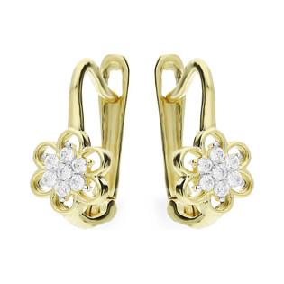Kolczyki złote kwiatki z cyrkoniami dla dziewczynki MZ T5-E-CK24-CZ próba 333 Sezam - 1