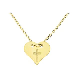 Naszyjnik serce z wygrawerowanym krzyżem MZ T23-N-148-0718-LZ próba 585 Sezam - 1