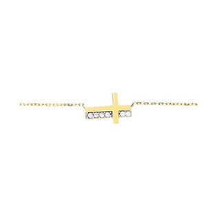 Naszyjnik krzyżyk blask+cyrkonie 1r-anker MZ T5-N-ES-624-CZ próba 585 Sezam - 1