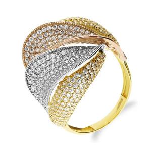Pierścionek złoty bogato zdobiony cyrkoniami AR VX5-X8ZR200091-TC próba 585 Sezam - 1