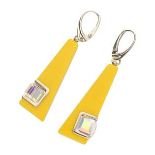 Kolczyki 2 żółty akryl+Swarovski M2 STREET LINE 2 żółty akryl+S próba 925 Sezam - 1