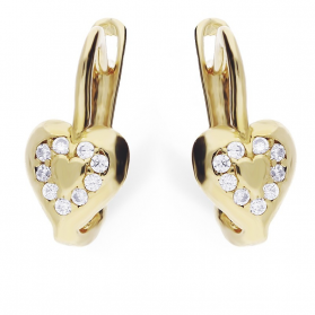 Kolczyki dla dziewczynki złote serca z cyrkoniami na zapięcie angielskie MZ T5-E-CK1129-CZ próba 585