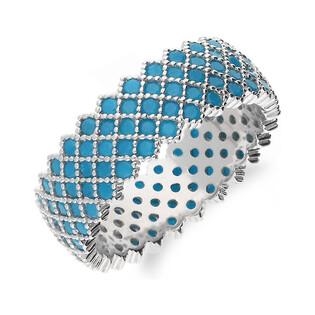 Srebrny pierścionek obrączkowy z niebieskimi cyrkoniami A0 FIR1_5 próba 925 Sezam - 1