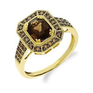 Pierścionek zaręczynowy z diamentami i kwarcem dymnym 1,20ct+bryl.0,32ct KU 5388-2023 SMCH próba 585