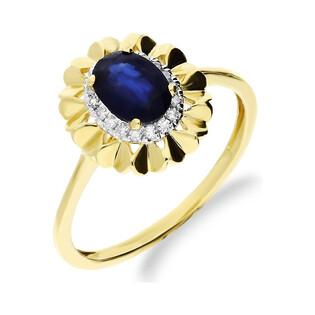 Pierścionek zaręczynowy markiza z szafirem i diamentami KU 6058-2310 SAP próba 585 Sezam - 1