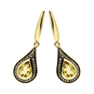 Kolczyki złote z cytrynem i diamentami nr KU 100897-10595 CTCH próba 585 Sezam - 1