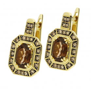 Kolczyki złote z kwarcem dymnym i diamentami z kolekcji Wiktorii KU 2023-1773 SMCH próba 585 Sezam - 1
