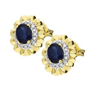 Kolczyki złote z szafirami i diamentami KU 2310-2067 SAP próba 585 Sezam - 1