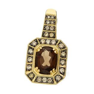 Zawieszka złota z kwarcem dymnym i diamentamii z kolekcji Wiktorii KU 2023-1773 SMCH próba 585