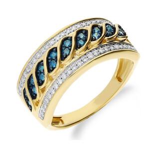 Złoty pierścionek zaręczynowy z niebieskimi brylantami NF JRI 538 blue diamond Au 375 Sezam - 1