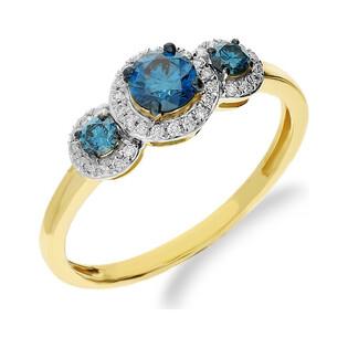 Pierścionek niebieskie bryl 0,54ct+bryl.0,11 NF JRI-535 BLUE DIAMOND x3 próba 375 Sezam - 1