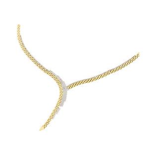 Naszyjnik złoty kolia w szpic z cyrkoniami AR 201773-YW-FCZ próba 585 Sezam - 1