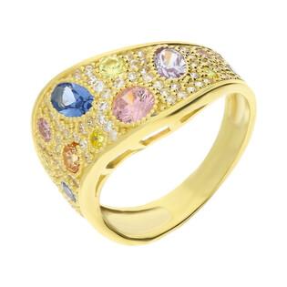 Pierścionek złoty z barwnymi cyrkoniami NB 501109 próba 375 Sezam - 1