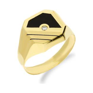 Złoty sygnet męski kwadrat z czarną emalią i cyrkonią OP01 próba 585 Sezam - 1