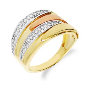 Szeroki pierścionek złoty dwukolorowy z cyrkoniami CA T11CYZ190014 próba 585 Sezam - 1