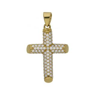 Krzyżyk złoty cyrkonie rurka nr WB AR 0017 próba 585