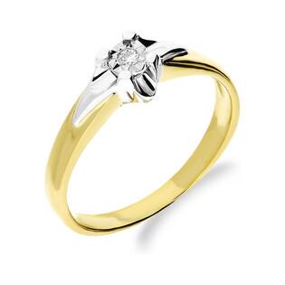 Złoty pierścionek zaręczynowy dwukolorowy z diamentem UNICO Magic DI tz171 próba 585 Sezam - 1