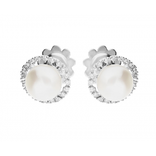 Kolczyki z białego złota z perłą i cyrkoniami nr FL FL50 FANTIN Au 585