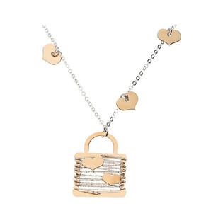 Naszyjnik srebrny kłódka z sercami i różowym pozłoceniem NI459 próba 925 Sezam - 1