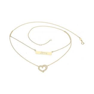 Naszyjnik złoty blaszka love+serce z cyrkoniami rolo nr AR X4FFOR7N1633-II-II GS próba 333 Sezam - 1