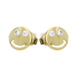 Kolczyki złote w kształcie buźki uśmiechniętej MZ ES516-CZ próba 585