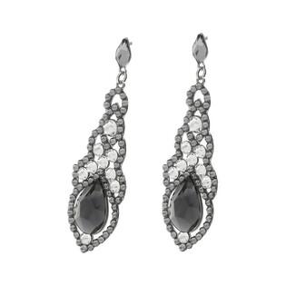 Kolczyki srebrne GRACE szare kryształy Swarovski RD 735-1-CRSIN253 crystal próba 925 Sezam - 1
