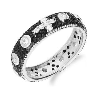 Pierścionek obrączkowy różaniec na palec MB AS0338 cz+b rod próba 925 Sezam - 1