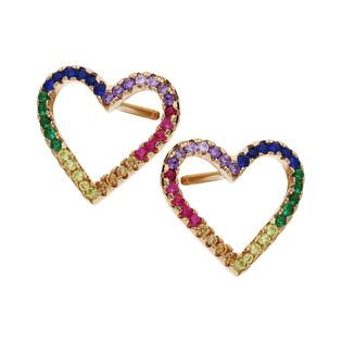 Kolczyki srebrne Rose ramki w kształcie serca z kolorowymi cyrkoniami MB AS1154 rose próba 925 Sezam - 1