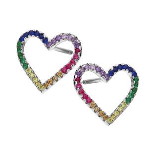 Kolczyki srebrne ramki w kształcie serca z kolorowymi cyrkoniami MB AS1154 próba 925 Sezam - 1