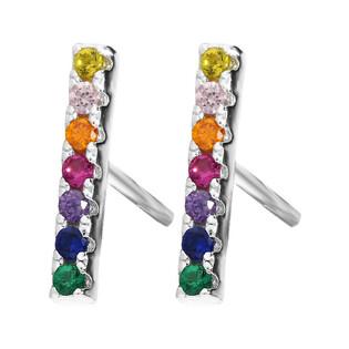 Srebrne kolczyki kreski z kolorowymi cyrkoniami MB AS1153 próba 925 Sezam - 1