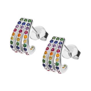 Kolczyki srebrne pazurki z kolorowymi cyrkoniami nr MB AS1156 próba 925 Sezam - 1